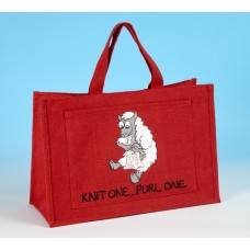 JB18 Knitting Bag KNIT ONE PURL ONE Red