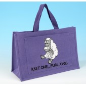 JB19 Knitting Bag KNIT ONE PURL ONE Lilac