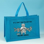 JB81 Knitting Bag IF I CANT TAKE MY KNITTING Turquoise