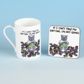 5503 Bone China Mug and Coaster Set-IF I CANT TAKE MY KNITTING