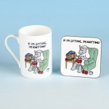 5504 Bone China Mug and Coaster Set-IF IM SITTING IM KNITTING