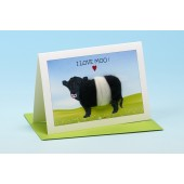 C15 Black and White Cow Card-I LOVE MOO