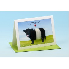 C15 Black and White Cow Card-I LOVE MOO