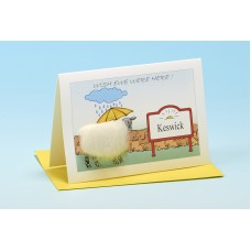 S140 Personalised Sheep Card-WISH EWE WERE HERE . . . . . . . . . .