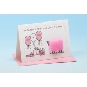 S150 Sheep Card-WELCOME TO YOUR LITTLE LAMB-PINK