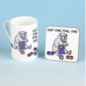 5501 Bone China Mug and Coaster Set-KNIT ONE PURL ONE
