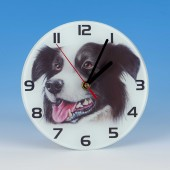 8711 Glass Clock-MARK CHARLES-COLOURED COLLIE