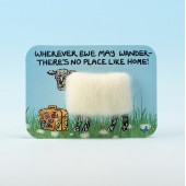 4111 Woolly Fridge Magnet-WHEREVER EWE MAY WANDER-THERE'S NO PLACE LIKE HOME